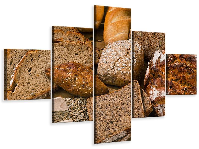 5 Piece Canvas Print Bread Types