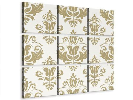 9 Piece Canvas Print Baroque Ornaments