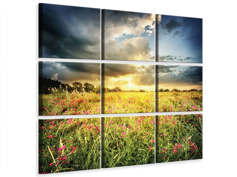 9 Piece Canvas Print Flowers Landscape