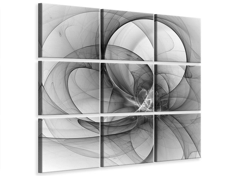9 Piece Canvas Print Abstract Circle Circles