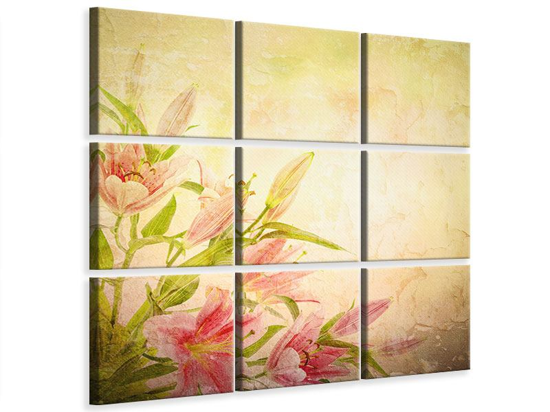 9 Piece Canvas Print Painting Lily