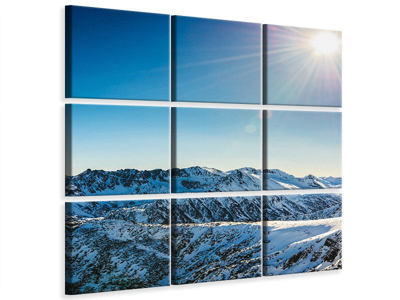 9 Piece Canvas Print Mountains In Snow
