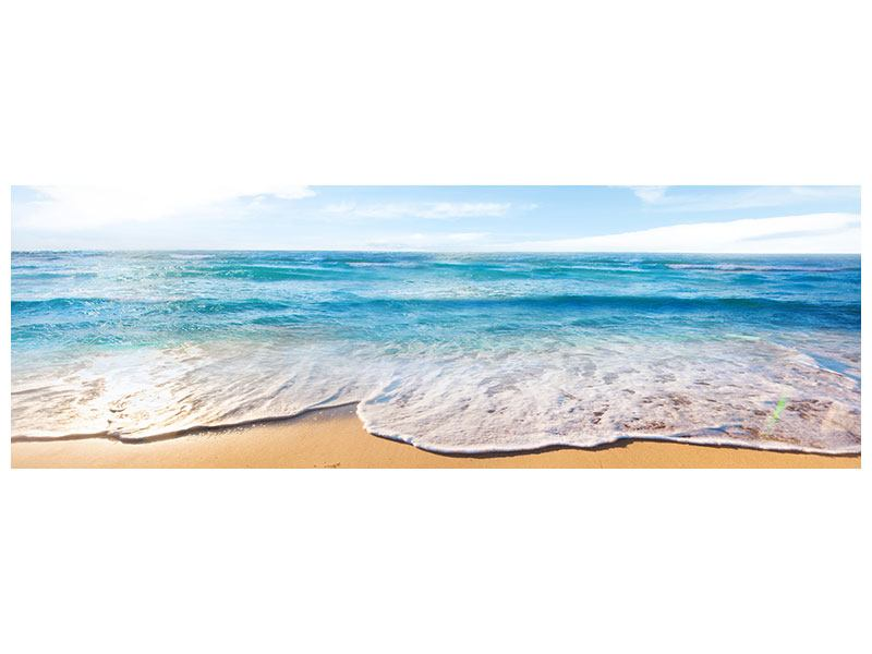Panoramic Metallic Print Waves In The Sand