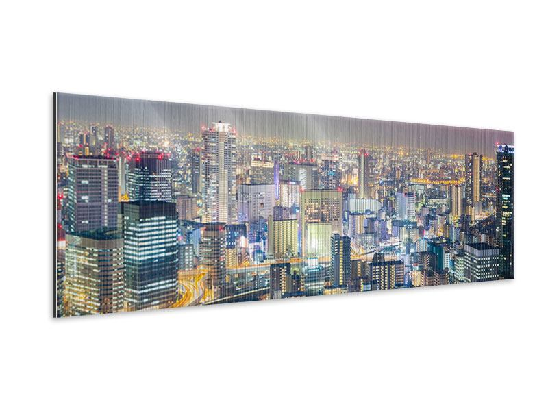 Panoramic Metallic Print Skyline Osaka At Sunset