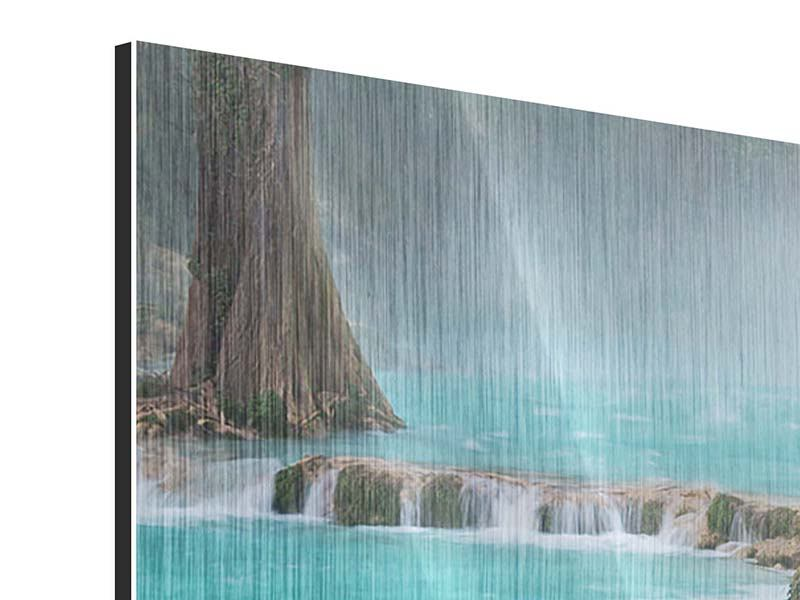 Panoramic Metallic Print House At Waterfall