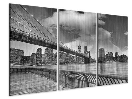 3 Piece Metallic Print Skyline Black And White Photography Brooklyn Bridge NY