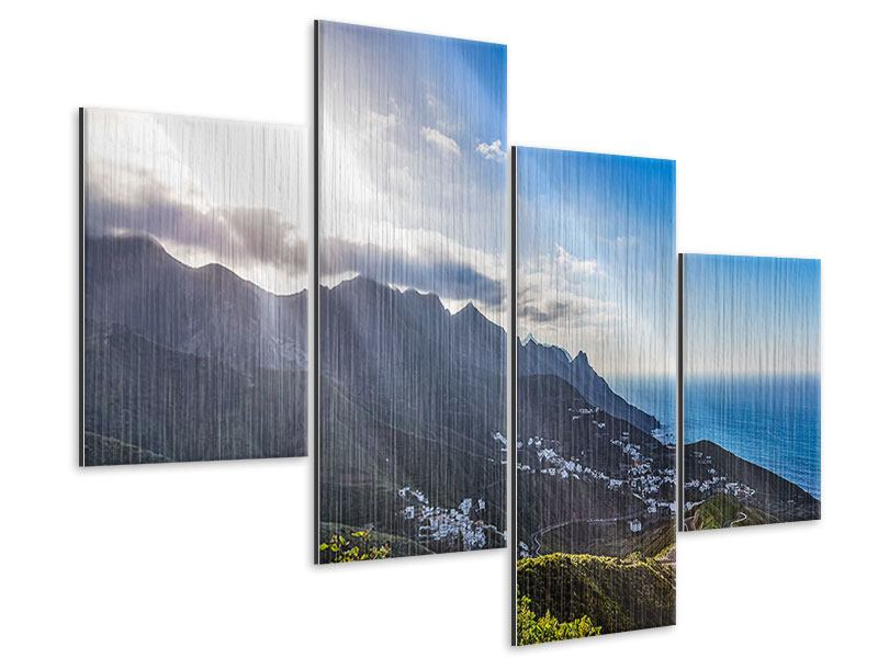 Modern 4 Piece Metallic Print Spring In The Mountains