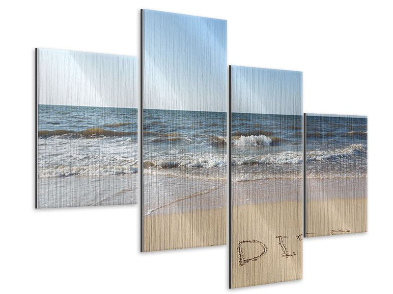 Modern 4 Piece Metallic Print Tracks In The Sand