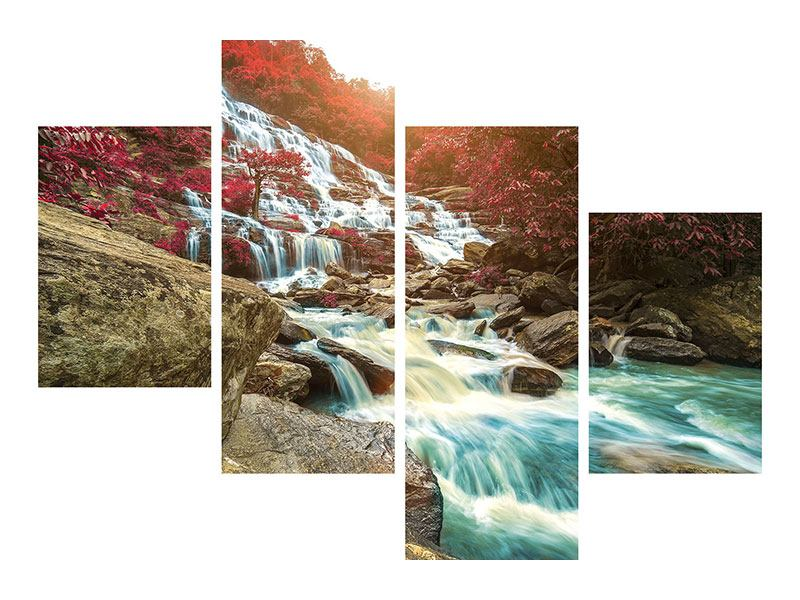 Modern 4 Piece Metallic Print Exotic Waterfall