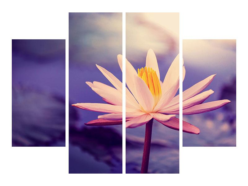 4 Piece Metallic Print Lotus At Sunset
