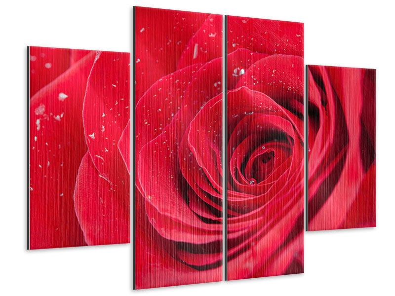 4 Piece Metallic Print Red Rose In Morning Dew