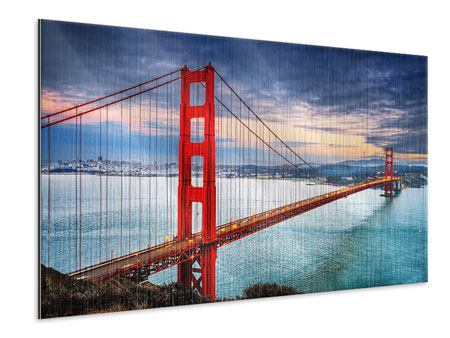 Metallic Print The Golden Gate Bridge At Sunset