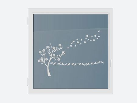 Decorative Window Film Blossom tree with flock of birds
