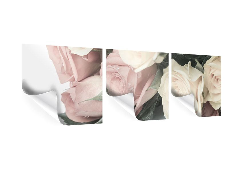 Panoramic 3 Piece Poster Romantic Rose
