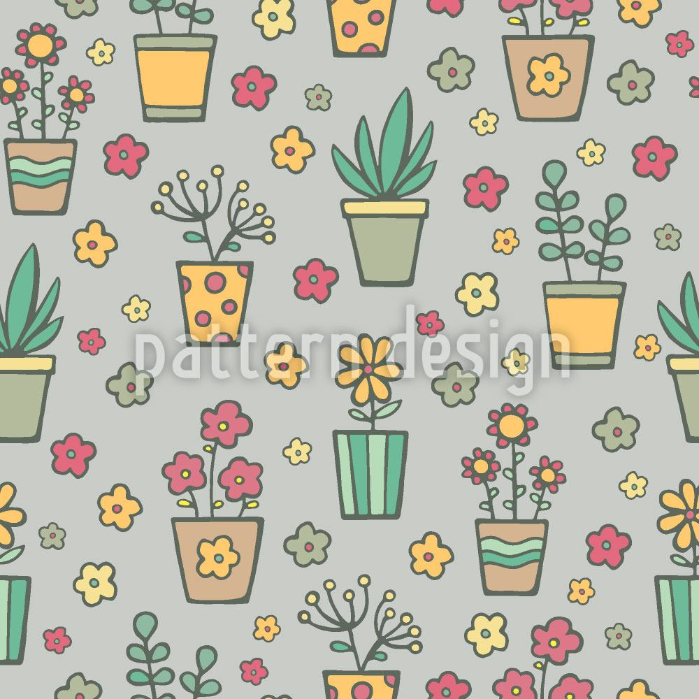 Papel tapiz de diseño Potted Plants And Flowers