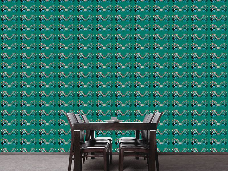 Design Wallpaper Peacocks Showing Off