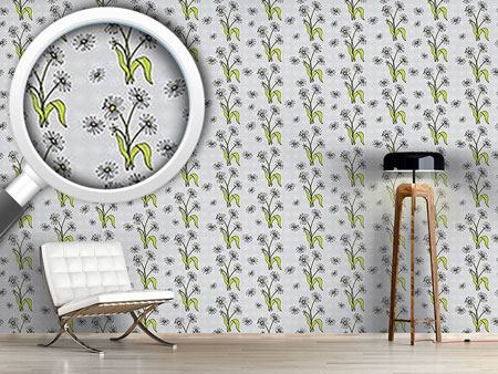 Design Wallpaper Daisy Flowers Grey