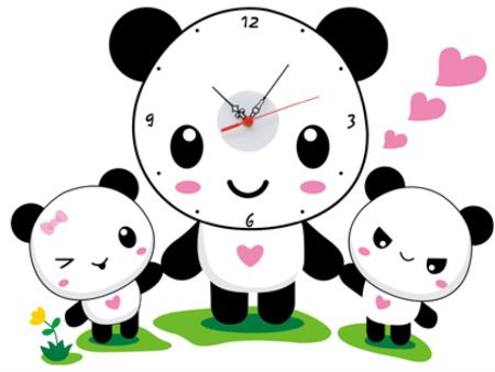 Wall Sticker Childrens Clock Panda