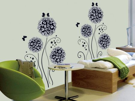 Wall Sticker Black Flowers