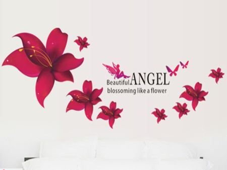 Wall Sticker Angel Flowers