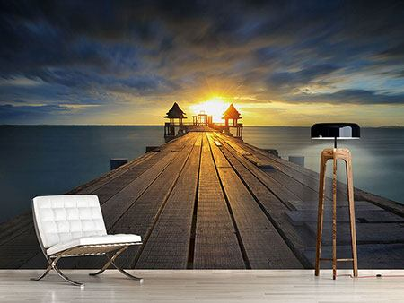 Photo Wallpaper Sunset At The Wooden Bridge